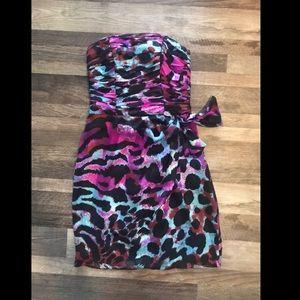 Cache Leopard Print Strapless Cocktail Dress